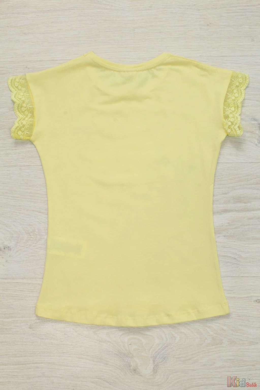 ... Футболка для дівчинки з ажурним рукавчиком лимонного кольору Miss  Zelish ТЗ17-11Жт (4109) eb28a437c47e8