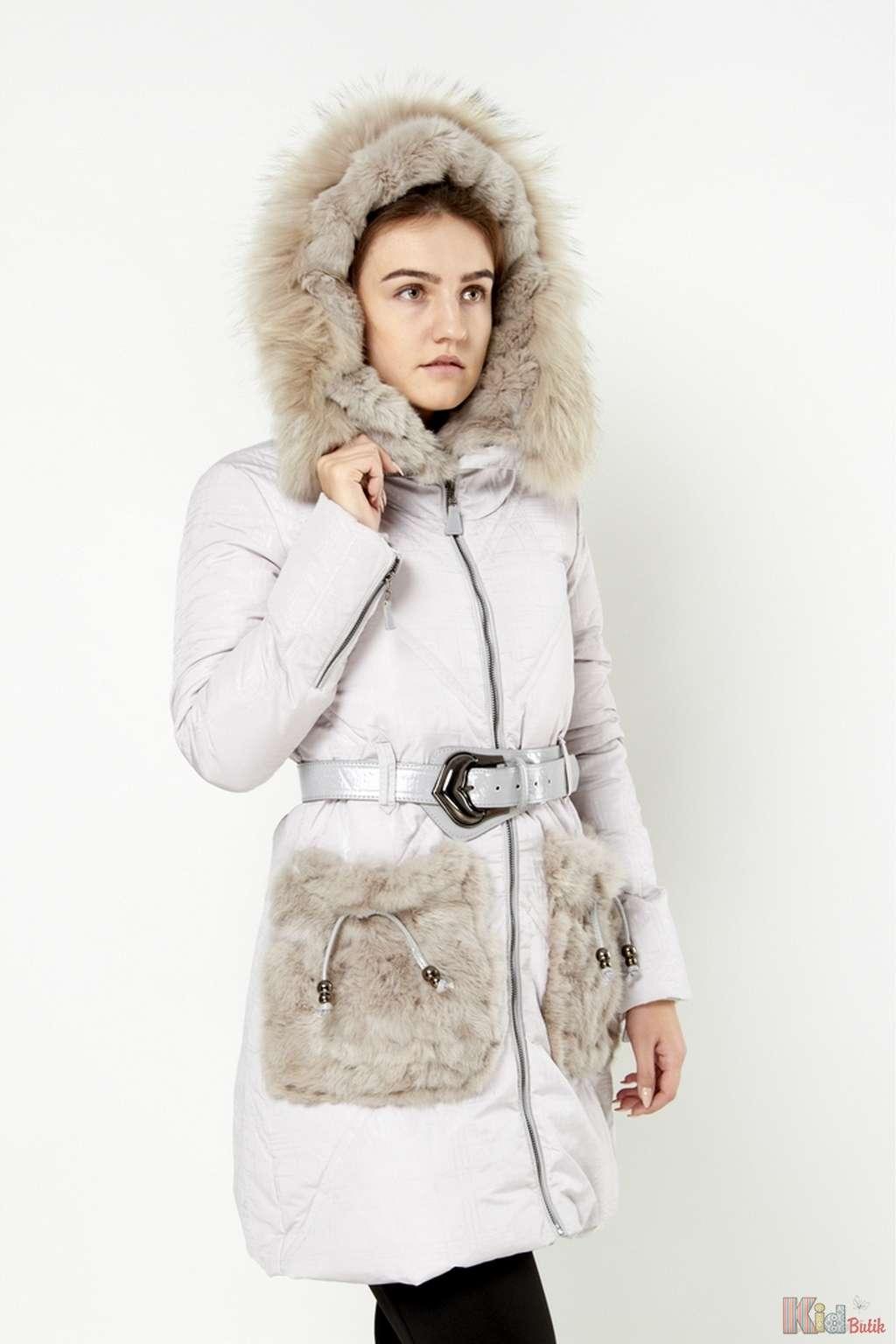 b4955fc3fd3 ᐈ Пальто светло-серое с меховыми карманами 2125000469188 купить ...