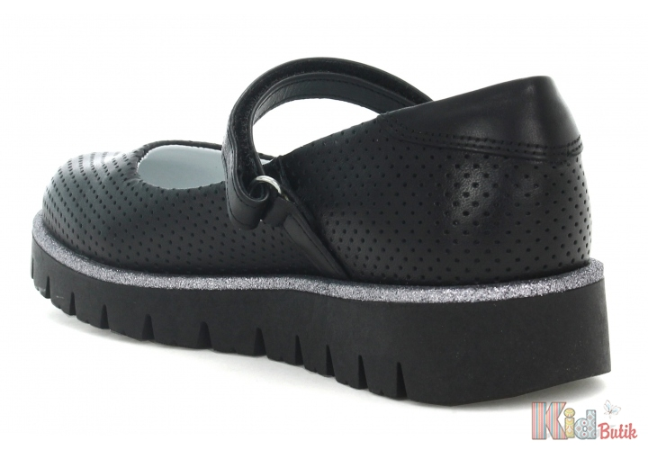 ee7d4c47364580 ... Туфлі для дівчинки чорні на рельєфній підошві Bartek 18-45605/SZ/N2