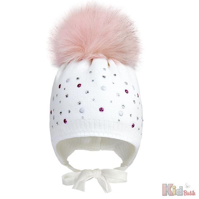 Шапка зимова білого кольору з натуральним помпоном для дівчинки Devid s  Star ДС18-39(17254 8a62ffcee1326