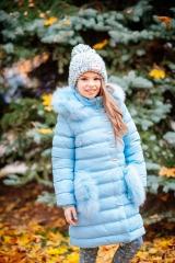 ceee63d7ea0796 Пальто зимове красивого блакитного кольору для дівчинки И18-34Гл(7727)  КУПИТИ