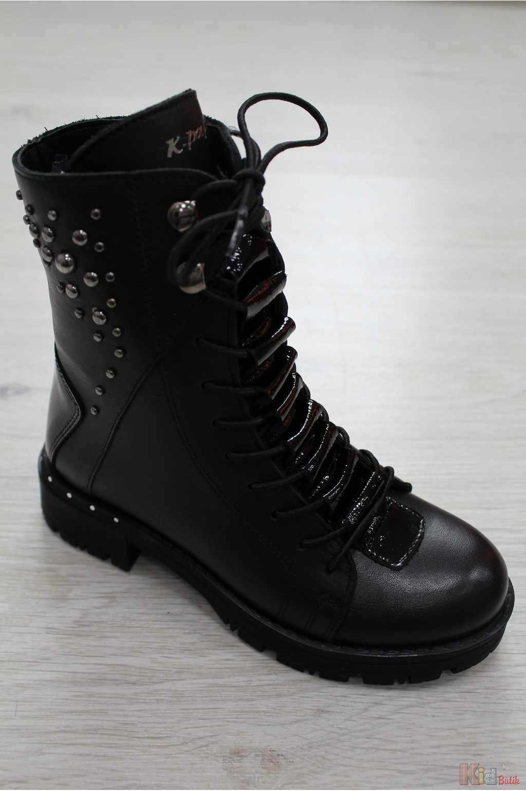 a7cabab244eca5 Черевики демісезонні чорного кольору з заклепками Kemal Pafi  КР18-101.38160/3(21чор.