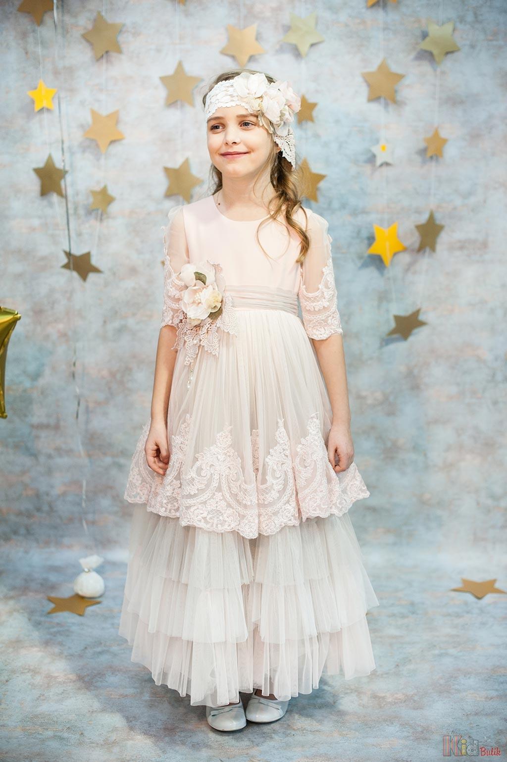 4e873079de2 Платье нарядное светло-персикового цвета для девочки Mialora Б18-53(1913)  Рож ...