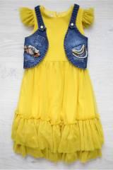 7f16024736f Костюм 2-ка желтое платье и джинсовая жилетка Мк19-2(5173) КУПИТЬ